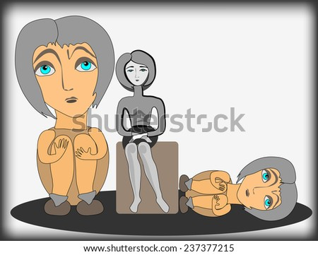 Three women. Illustration of the relations and emotions. Vector illustration. - stock vector
