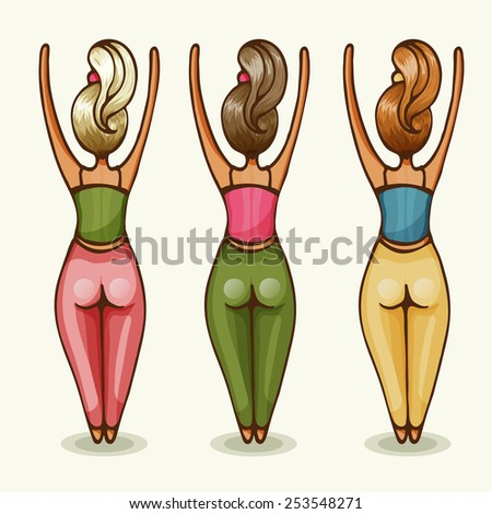 Three women practice yoga with arms raised. Vector illustration. - stock vector