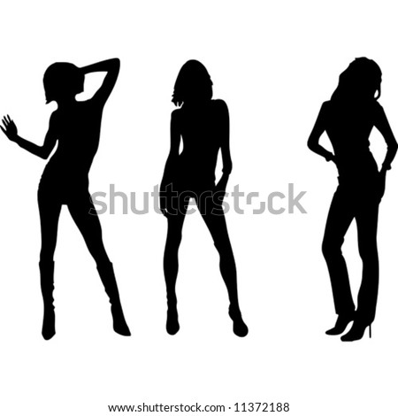Three womens vector silhouette - stock vector