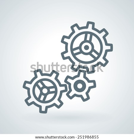 Three Working Gears detailed Line Icon - stock vector