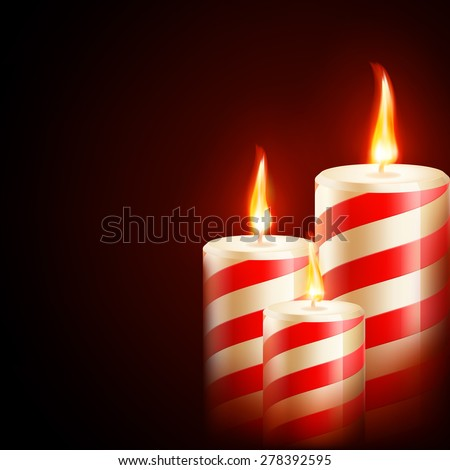 Three yellow red candles on dark background. EPS 10 vector file included