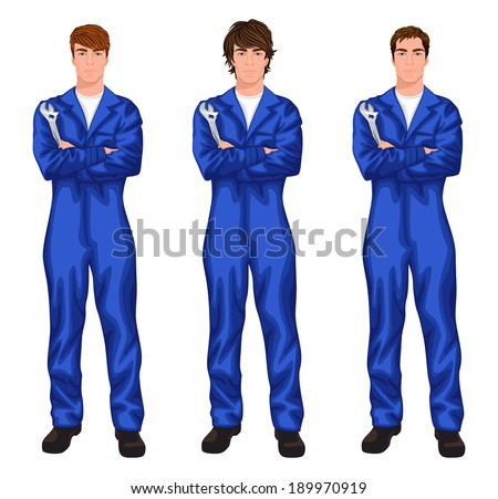 Three young handsome mechanic workers in overall with spanner, arms crossed with different hair styles vector illustration - stock vector