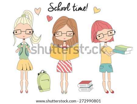 Three young school girls with glasses, school bag, books, vector illustration - stock vector