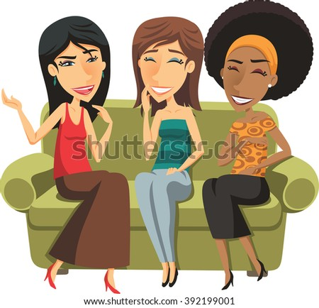 three Young women chatting illustration  - stock vector