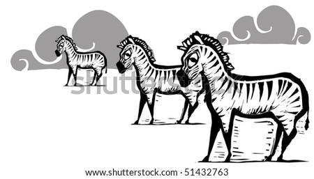 Three zebras on a white field with clouds - stock vector