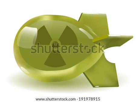 threedimensional green glass atomic bomb. Vector. Gradient mash - stock vector