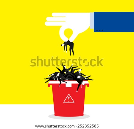 Throwing away those bad - stock vector