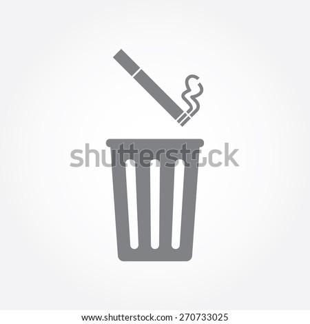 throwing cigarette into bin. Vector illustration - stock vector
