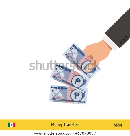 Throwing three peso. Mexican peso banknote.