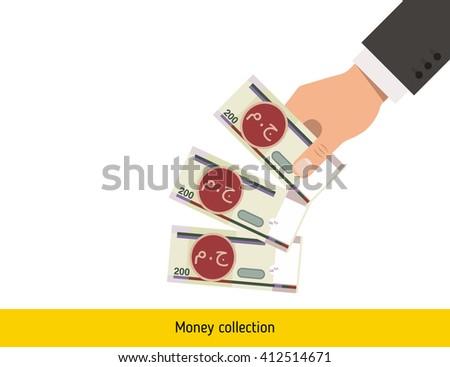 Throwing three pound. Egyptian pound banknote. - stock vector