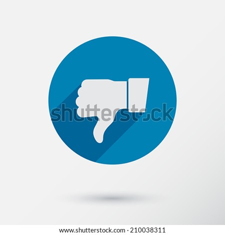 Thumb down applique. Icon. Flat style. Vector Illustration. - stock vector