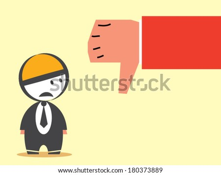thumb down business - stock vector