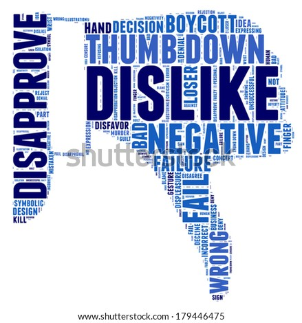 thumb down: dislike concept vector tag cloud illustration - stock vector