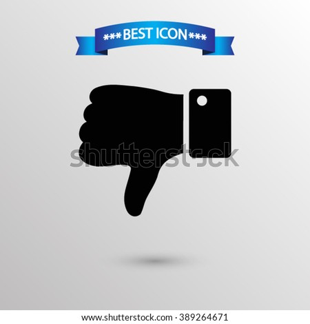 Thumb down  icon vector eps 10 icon, Thumb down vector icon for web i mobile,  Thumb down vector icon on gray background - stock vector