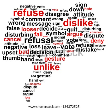 Thumb Down Refuse Word Cloud Concept - stock vector