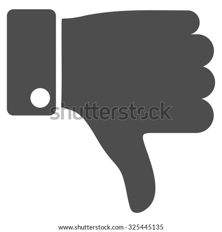 Thumb Down vector icon. Style is flat symbol, gray color, rounded angles, white background.