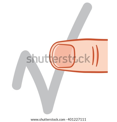 thumb finger touch screen gesture - stock vector
