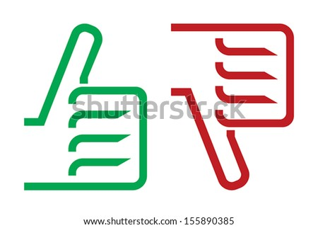 thumb up and down gesture icon - stock vector