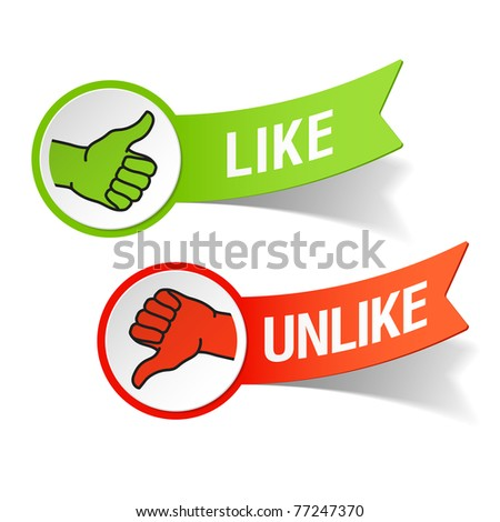 Thumb up and down gestures - like and unlike. Vector. - stock vector