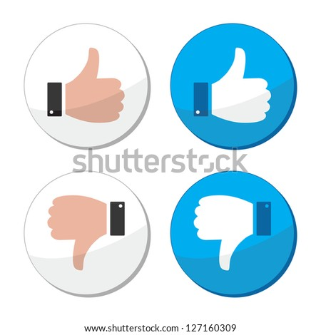 Thumb up and down like vector icon set