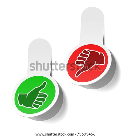Thumb up and thumb down signs. Vector. - stock vector