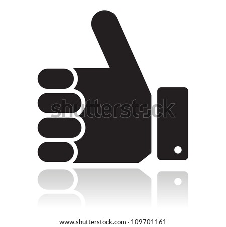 Thumb up black glossy icon - stock vector