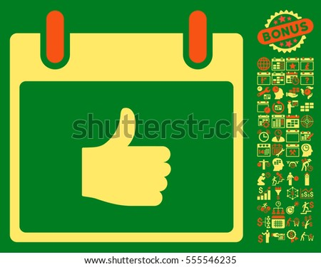 Thumb Up Calendar Day icon with bonus calendar and time management icon set. Vector illustration style is flat iconic symbols, orange and yellow, green background.