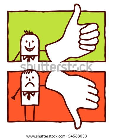 thumb up & down - stock vector