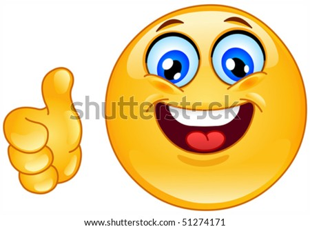 Thumb up emoticon - stock vector