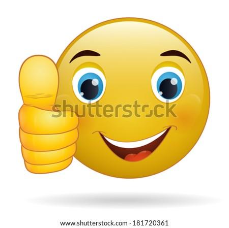 Thumb up emoticon, yellow  cartoon sign facial expression - stock vector