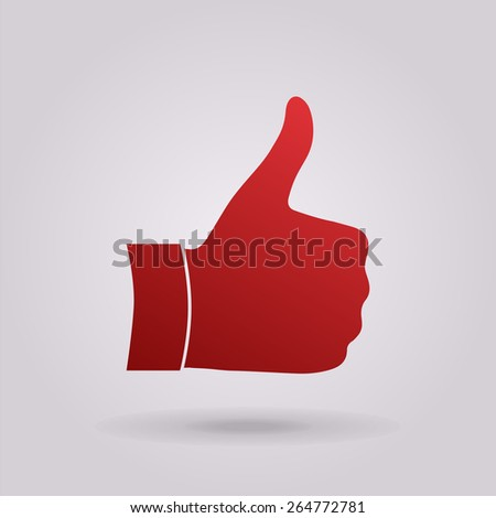 Thumb up gesture - icon. - stock vector