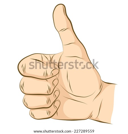 Thumb up. Gesture of approval. Sign of like. - stock vector