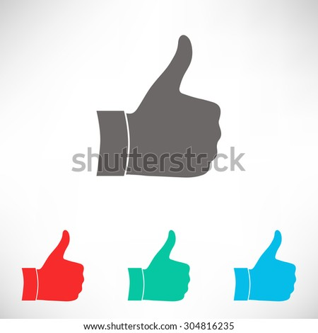 Thumb up gesture.  Set of varicolored icons.