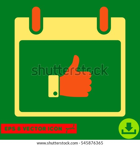 Thumb Up Hand Calendar Day icon. Vector EPS illustration style is flat iconic bicolor symbol, orange and yellow colors.