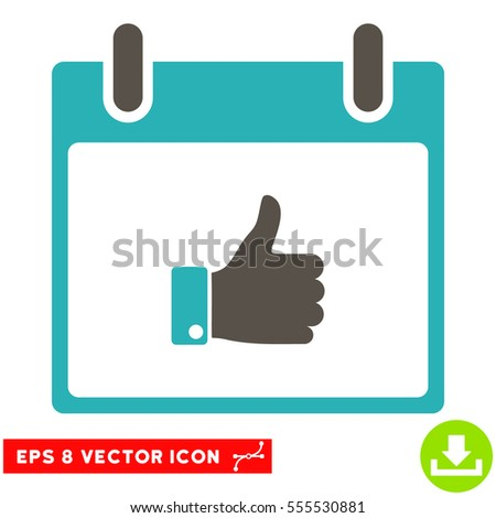 Thumb Up Hand Calendar Day icon. Vector EPS illustration style is flat iconic bicolor symbol, grey and cyan colors.