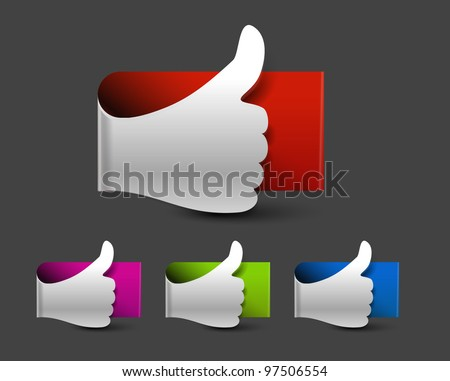 Thumb up hand label on button design. - stock vector