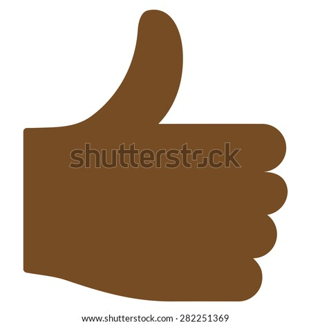 Thumb up icon from Basic Plain Icon Set. Style: flat vector image, brown color, rounded angles, white background. - stock vector