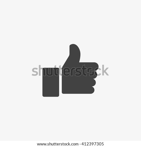 Thumb up Icon in trendy flat style isolated on grey background. Good symbol for your web site design, logo, app, UI. Vector illustration, EPS10. - stock vector