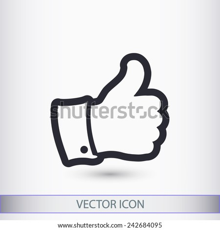 Thumb up icon, vector illustration. Flat design style   - stock vector