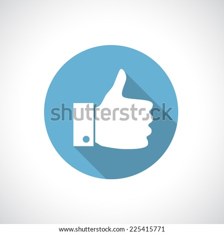 Thumb up icon with shadow. Round icon. Flat modern design. - stock vector