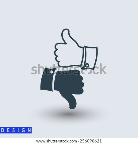 thumb up icons, vector illustration. Flat design style   - stock vector