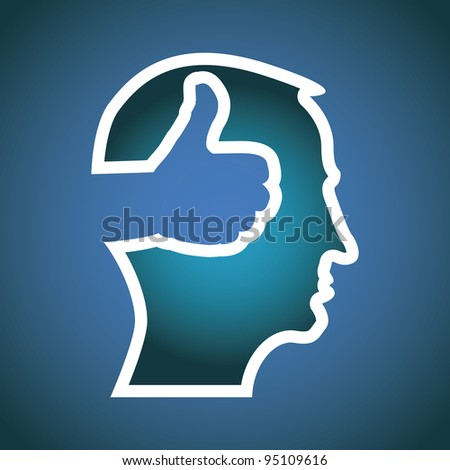 thumb up in head illustration - stock vector