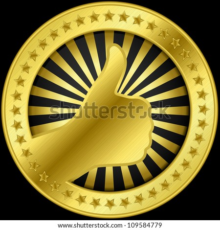 Thumb up like golden label, vector illustration - stock vector