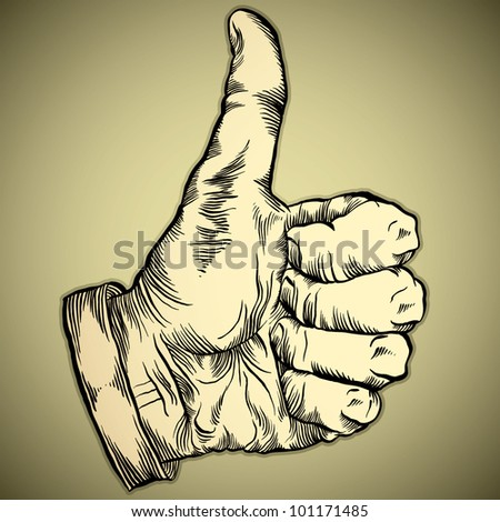 Thumb up like hand symbol. Vector icon. - stock vector