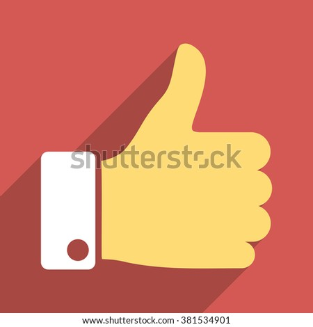 Thumb Up long shadow vector icon. Style is a flat light symbol on a red square background. - stock vector