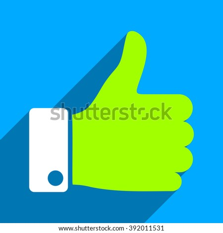 Thumb Up long shadow vector icon. Style is a flat thumb up iconic symbol on a blue square background. - stock vector