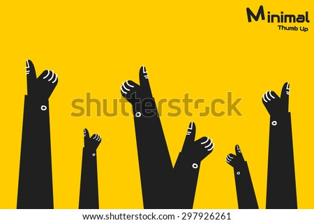 thumb up, minimal concept - stock vector