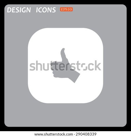 thumb up positive symbol. icon. vector. Flat design style.