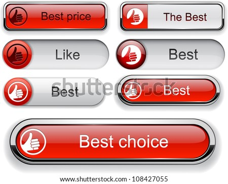 Thumb up red web buttons for website or app. Vector eps10. - stock vector