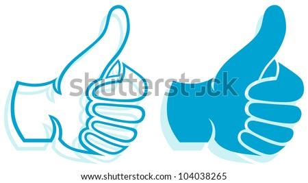 Thumb Up. Set - stock vector